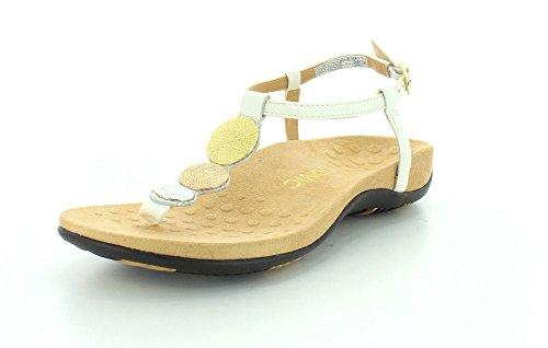 Vionic Lizbeth De T-strap Sandaal Orthetische Wit Metallic