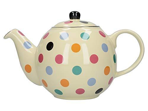 London Pottery Globe Polka Dot Teapot with Strainer, Ceramic, Ivory/Multi Spot, 6 Cup (1.2 - Polka Ceramic Dot Pot