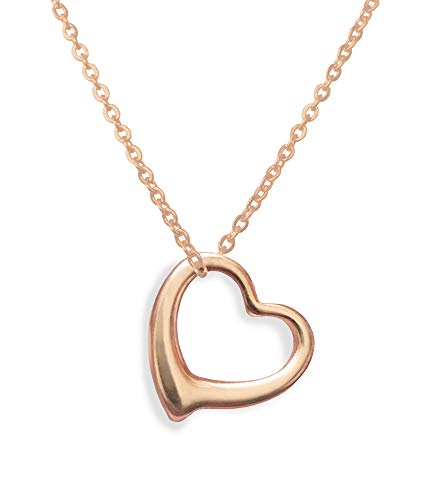 Altitude Boutique Open Heart Necklace for Women (Gold, Rose Gold, Silver) (Rose Gold)