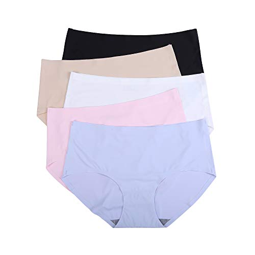 JingYun Women's Underwears Seamless No Show Panties Lines Briefs Soft Underpants Middle Low Waist 5 Pack(S) (Low Hipster Waist)