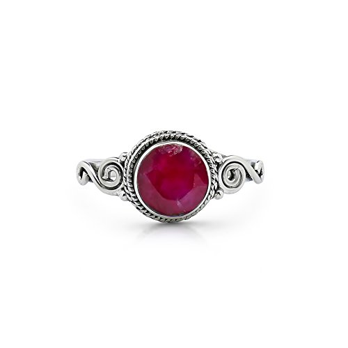 Koral Jewelry Created Ruby Spiral Side Ring 925 Sterling Silver Vintage Gipsy Boho Chic US Size 5 6 7 8 9 - Cabochon Ruby