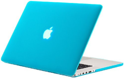 Kuzy Rubberized Hard Case for Older MacBook Pro 15.4 with Retina Display A1398 15-Inch Plastic Shell Cover - AQUA BLUE