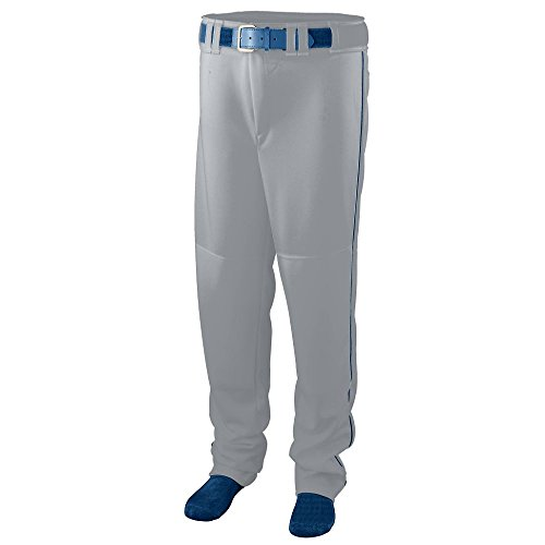 Augusta Sportswear Men's Series Baseball Pant with Piping 2XL Silver Grey/Navy ()