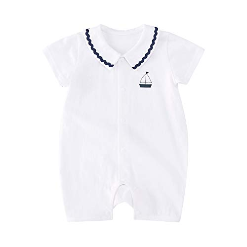 (pureborn Baby Boys Collar Romper Sailboat Printing Short Sleeve Cotton Summer Clothes Outfits White 9-12 Months)