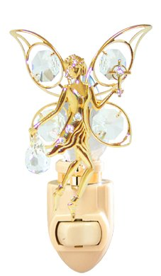 Fairy with the Cross in 24K Gold Plated Night Light..... With Clear Swarovski Austrian Crystal - Plated Light Night Silver