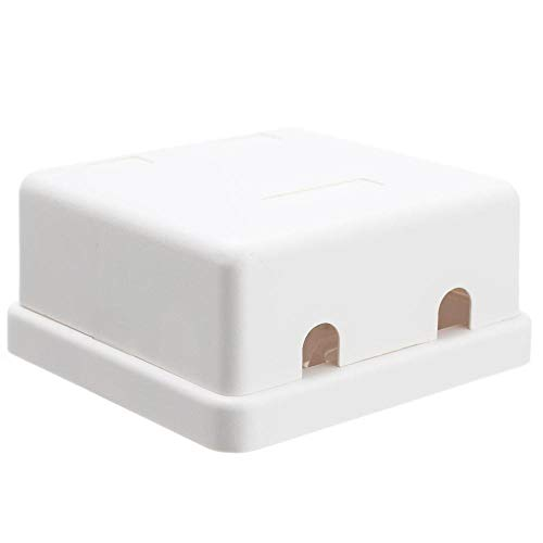 GOWOS (20-Pack) Blank Surface Mount Box for Keystones, 2 Hole, White