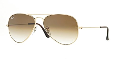 Ray-Ban RB3025 Aviator Large Metal Gradient Unisex Sunglasses (Gold Frame/Crystal Brown Gradient Lens 001/51, 58)