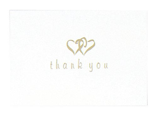 - Hortense B. Hewitt Wedding Accessories Thank You Cards, Gold Linked Heart, 50 Count