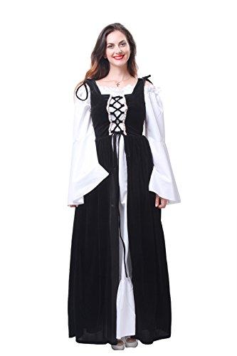 ROLECOS Womens Oktoberfest Fraulein Maid Costume Maxi Dress Halloween Costumes Black M (German Fancy Dress Ladies)
