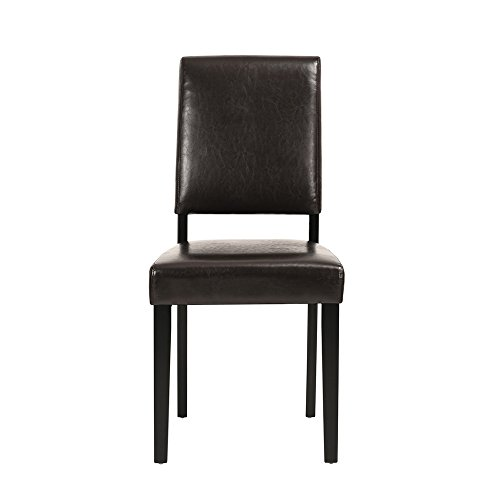 Homy Casa | Contemporary Modern Kitchen & Dining Chair | Dark Brown PU Leather Upholstered Fabric Dark Stain Wooden Legs | For Home Dining Table, Restaurant, Bakery, Bar, Office, Party Seating by HOMY CASA