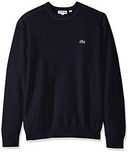Lacoste Men's Long Sleeve Half Cardigan Rib Flatlock Detail Sweater, Navy Blue, Medium (Cardigan Lacoste Sweater Mens)