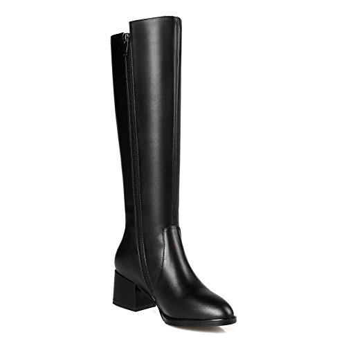 Tête sur Cuisse Nouvelle Véritable Noir Dames Automne Ronde EUR37UK455 de la Botte Chaussures Femmes NVXIE la de Cuir Hiver Mode Bottes Chevalier 6EnUfqT