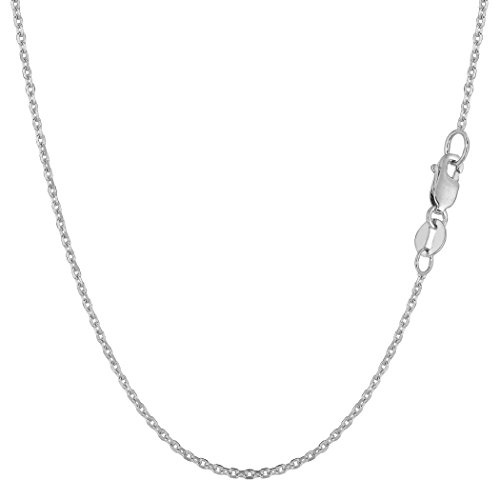 14k White Gold Cable Link Chain Necklace, 1.1mm, (14k Real Gold Cable Chain)