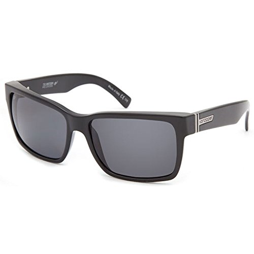 (VON ZIPPER Elmore Polarized Sunglasses, Black Gloss/Grey Poly Polar)