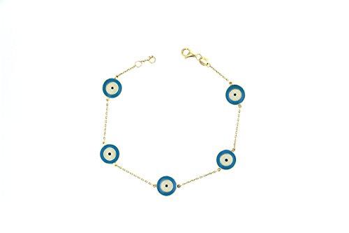 Evil Eye Bracelet, 14Kt Yellow Gold Enamel Evil Eye Bracelet