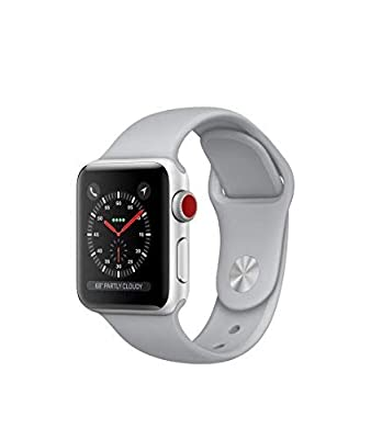 Apple Watch Series 3 38mm Smartwatch (GPS + Cellular, Silver Aluminum Case, Fog Sport Band) (Renewed)