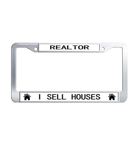 Hensonata Luxury Stainless Steel License Plate Frame, Realtor I Sell Houses Car Licence Plate Covers Slim Design with Screw Caps Car Licenses Plate Covers Holders for US -