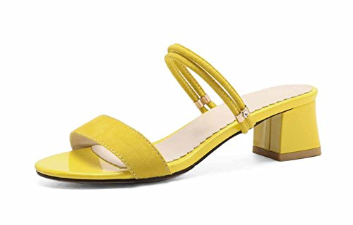 Shoes Sandalias de Heel Black strap Low de New Moda T las gamuza Summer mujeres Amarillo Mules rrqOfA