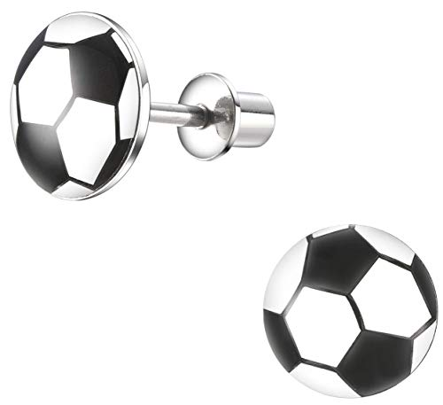 Surgical Steel Hypoallergenic Stud Earrings, Soccer Earrings with Secure Safety Screwback
