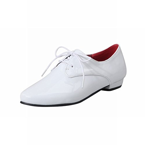 leather Up Lace Pointed White Synthetic Fashion Women's Chunky Patent Oxford Latasa Shoes toe wq8H6I0