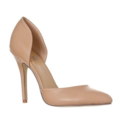 Heel Dorsay Pump - Riverberry Women's Nora Pointed Toe, Slip On D'Orsay Pump Heels, Taupe PU, 9