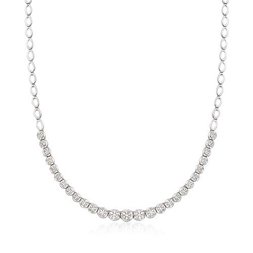 Ross-Simons 1.00 ct. t.w. Graduated Diamond Illusion Necklace in Sterling Silver