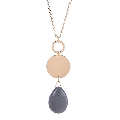 CONCISE ROYAL Long Necklaces for Women with Gray Natural Teardrop Healing Crystal Gemstone Pendant Necklace,Plated Gold Chain Long Necklace,32+ 3 inch Extender Chain (Dark Gray Gemstone)