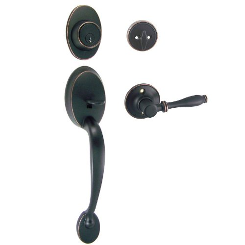 Designers Impressions Frankfort Oil Rubbed Bronze Handleset with Villa Interior Lever Kwikset Keyway (We Key Lock Orders Alike for Free)