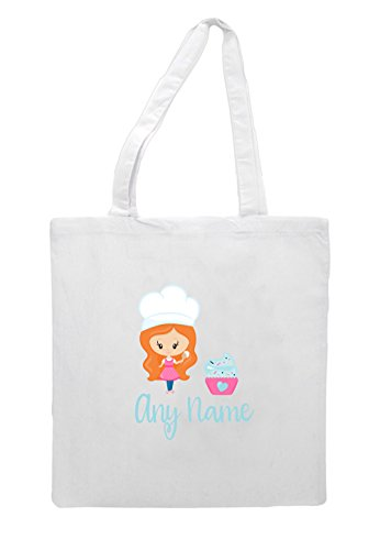 Cupcake Shopper Little Bag Bakers Personalised Wavy White Red Long With Tote Hair Lb16 8OPwwAnvq