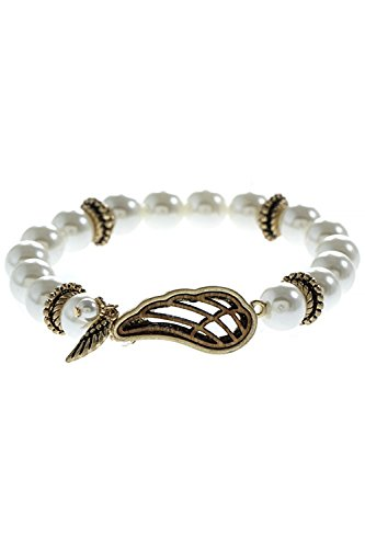 Hawaiian Beaded Mother Of Pearl - THE JEWEL RACK WOODEN ANGEL WING FAUX STONE BEADED BRACELET (Gold/Pearl)