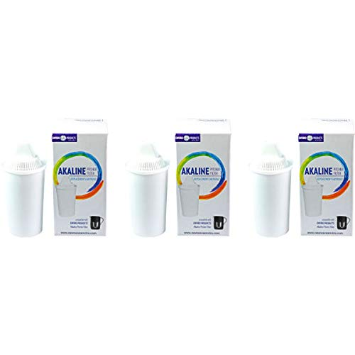 New Wave Enviro Alkaline Water Filter Pitcher Replacement Cartridges 3 Pack