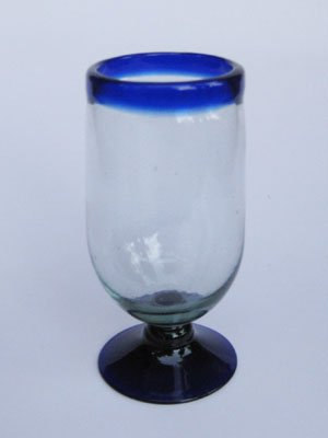 Mexican Blown Glass Tall Water Goblets Cobalt Blue Rim (Set of 6)