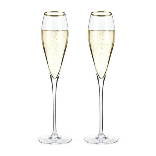 Viski 4894 Belmont - Gold Rimmed Crystal Champagne Flutes (Set Of 2), Multicolor