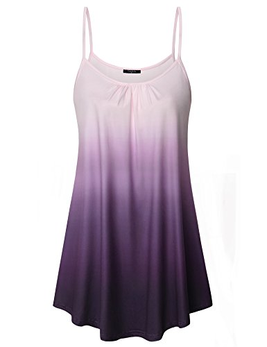 Tunic for Women,VALOLIA Teen Girls Sleeveless Cami Shirt for Cardigan Round Neck Gradient Basic Solid Tshirt Comfy Soft Casual Loose Fitting Cool Cotton Summer Tank Top Beach Dress,Pink Purple Small