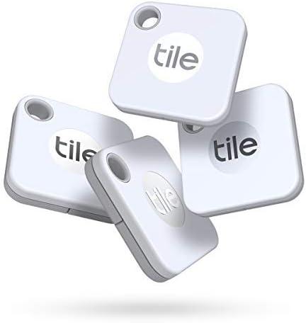 Tile Mate (2020) Lot de 4 localisateurs d'article Bluetooth, Blanc. Portée de...