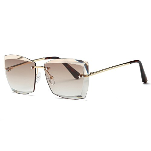 AEVOGUE Sunglasses For Women Oversized Rimless Diamond Cutting Square Glasses AE0528 (Gold&Brown, - Rated Sunglasses Best