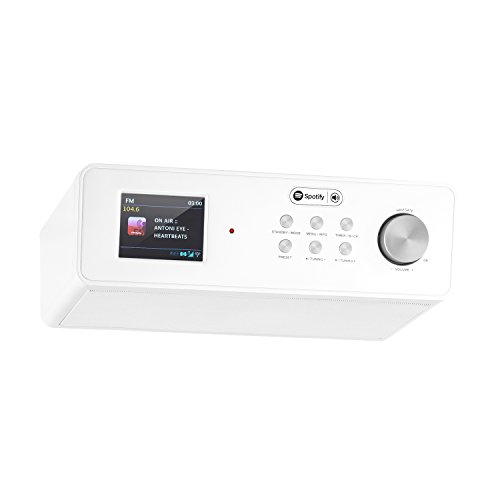 auna KR-200 WH Under Cabinet Radio • Kitchen Radio • Spotify Support • Broadband Speaker • TFT Color Display • Remote Control • FM Tuner • RDS Support • WiFi • AUX • 10 Station Presets • White by auna