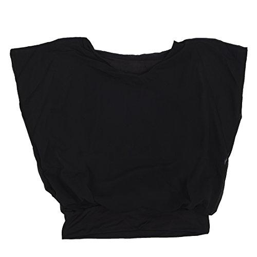 TOOGOO (R)Femmes Couleurs de bonbons Chemisier de carriere en mousseline de soie Chemisier cintree a manches bouffantes Chemisier Noir L