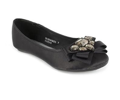 7d231dd1ab1fe Priceless Womens Black Jewelled Toe Ballerina Size 2  Amazon.co.uk ...