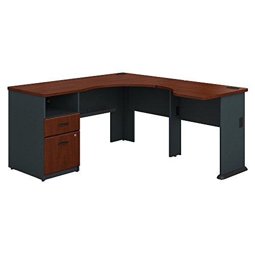 Bush Business Furniture Series A 60W L Shaped Corner Desk with 2 Drawer Pedestal and 30W Bridge in Hansen Cherry and Galaxy