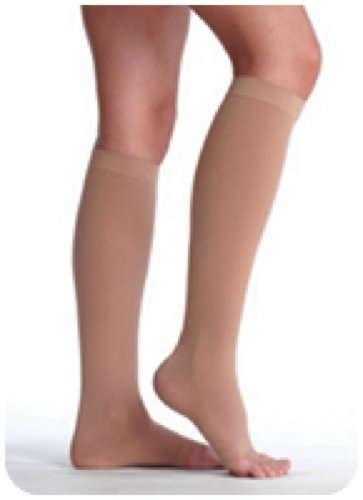 Juzo Soft Opaque Below-knee Compression Stockings with Silicone Top Band Size 4 Regular, 20 to 30mm Hg Compression, Beige, Open Toe, Unisex, Latex-free (Pair of 2 Each) by Juzo