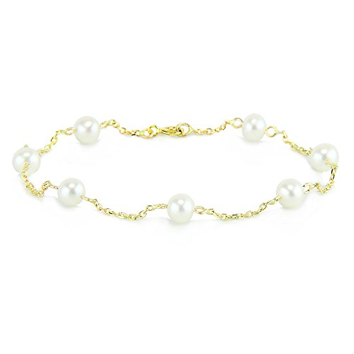 14K Yellow Gold Tin Cup Ankle Bracelet With Cultured Freshwater Pearls 9-11 Inch ()