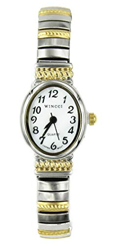 Ladies Two Tone Dainty Stretch Band Watch-Oval Case