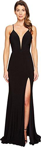 Faviana Women's Jersey V-Neck w/ Lace-Up Back 7977 Black Dress