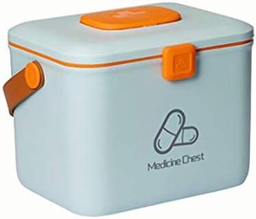 CUHAWUDBA PláStico a Prueba de Ni?Os Caja de Almacenamiento de Seguridad Organizador Caja de Medicina Kit de Emergencia Familiar (Azul)