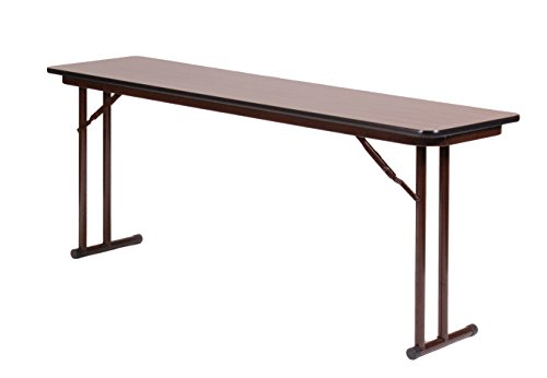 Correll ST2472PX-01 High Pressure Laminate Folding Seminar Table with Off-Set Leg for Maximum Leg Room, Walnut, 24