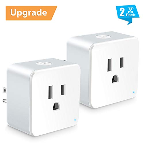 WiFi Smart Plug, Wsiiroon Upgraded Mini Smart Outlet with WiFi Repeater Function, Wireless Remote Control Electrical Devices with Timing Function, Compatible with Amazon Alexa, Google Home - 2 Packs