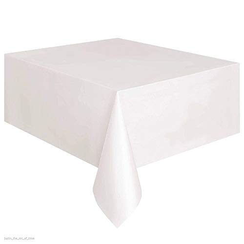 (Large Plastic Rectangle Table Cover Cloth Wipe Clean Party Tablecloth Covers Color White)