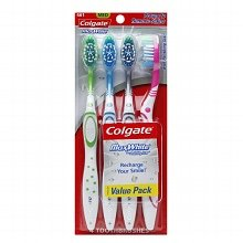 Colgate Max White Full Head Toothbrush, Medium, 4 Count (Pack of 2) Total 8 Toothbrushes (Colgate Max White Toothbrush With Polishing Star)