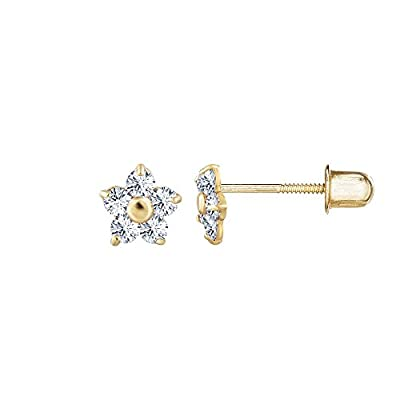 14kt Solid Gold Kids Flower Stud Screwback Earrings from Stephanie Rockway
